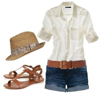 hat white t-shirt shorts white shirt brown flats brown hat