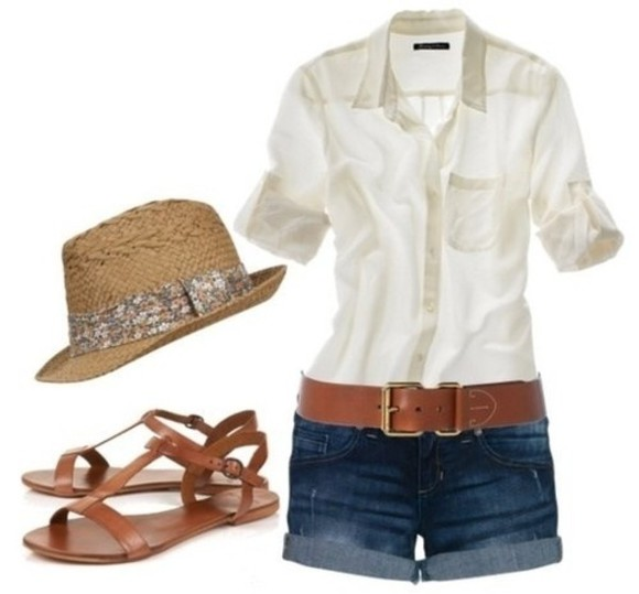 brown hat hat white shirt brown flats shorts white t-shirt