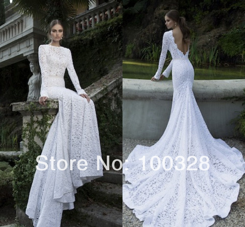 Aliexpress.com : buy 2014 new design sexy scoop trumpet/mermaid backless chapel train full with lace elegant white high quality wedding dress from reliable train 12 suppliers on rose wedding dress co., ltd