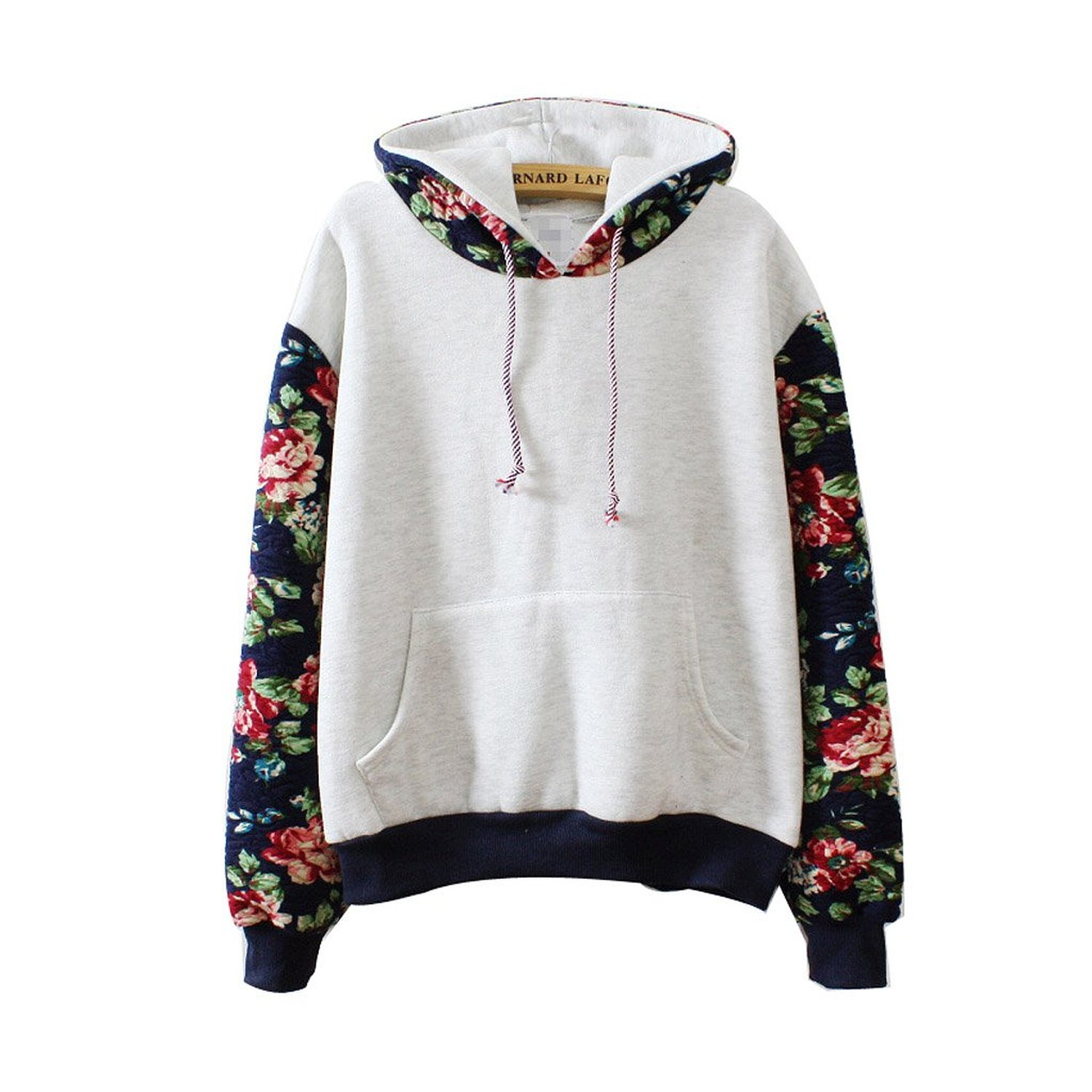 Women Thick Warm Floral Printed Long Sleeve Hooded Pullover ...