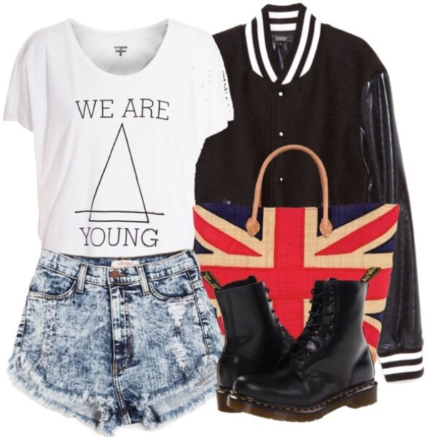 shirt t-shirt white shorts jacket doctor martens boots High waisted shorts bag london spring