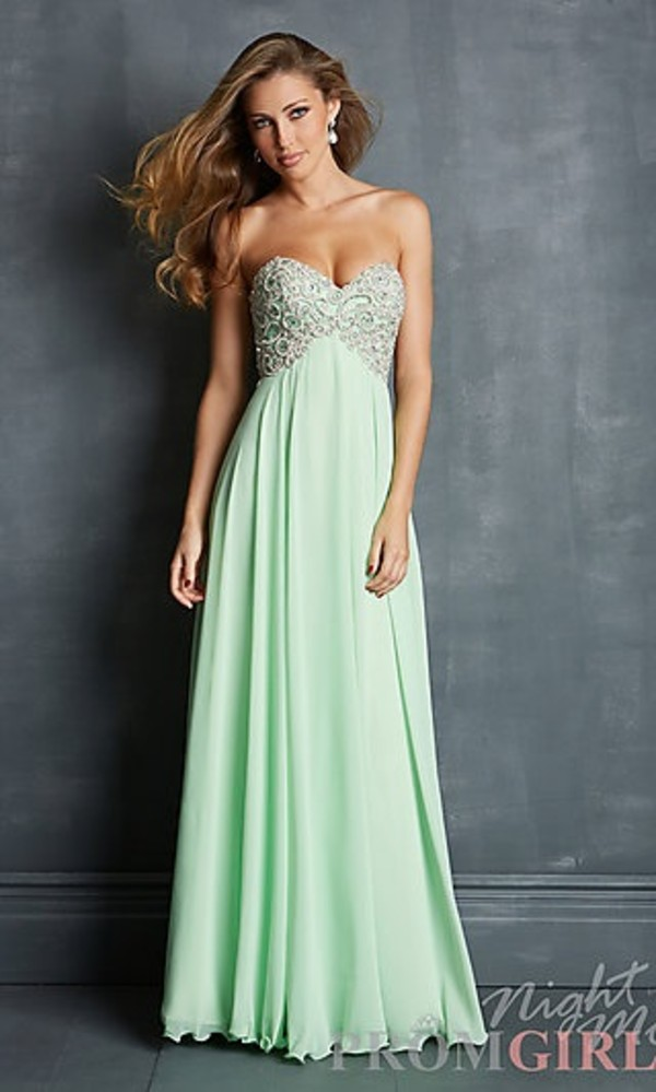 Dress: green, green dress, strapless, prom dress, long prom dress ...
