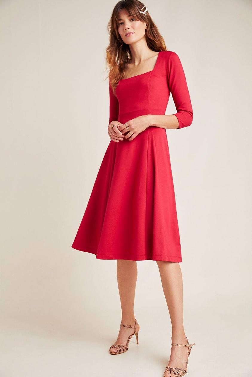 Jocelyn Midi Dress by Maeve in Red