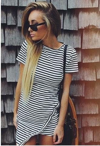 dress stripes geometric bodycon dress casual casual dress bag sunglasses