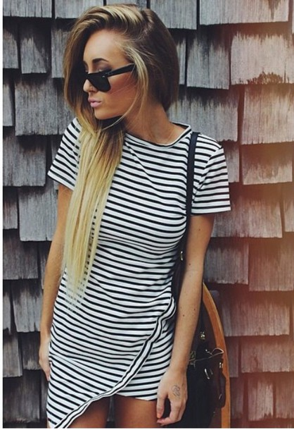 dress stripes geometric bodycon dress casual casual dress bag sunglasses