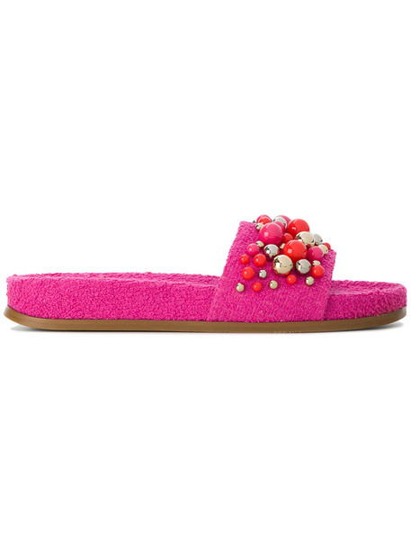 Aquazzura women pool leather cotton purple pink shoes