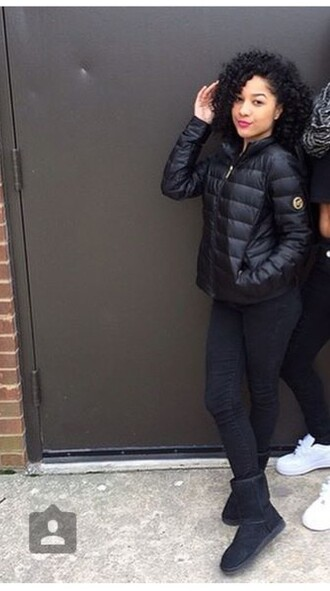 jacket black cute bubble jacket style