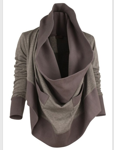 jacket cowl neck grey sweater gray hoodie