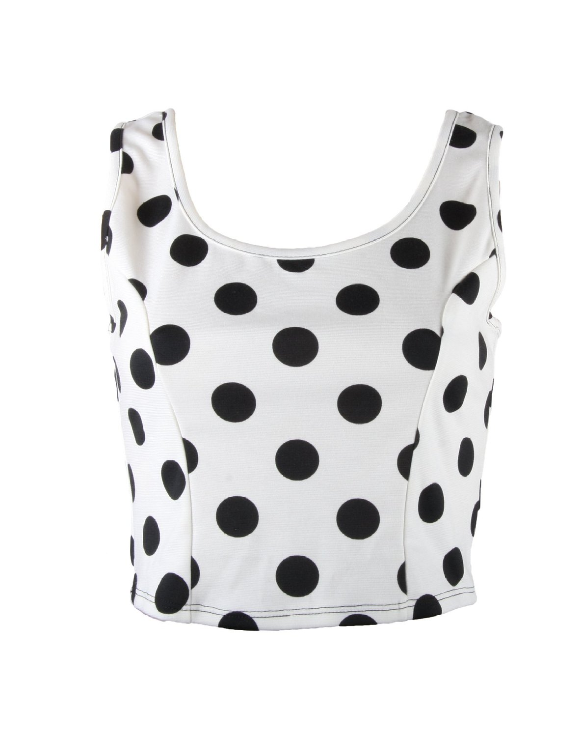 Black polka dots on white tank crop top (large) at amazon women's clothing store: tank top and cami shirts