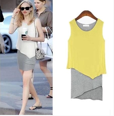 Free shipping 2014 new fashion women mini dress two pieces Casual summer dress irregular sleeveless dress Plus size | Amazing Shoes UK