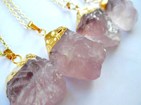 Gold Plated Natural Rose Quartz Necklace - Taurus Birthstone - Love Stone - 4 Styles to choose from