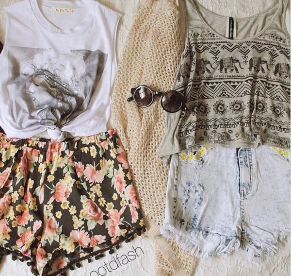 shirt tank top top shorts white aztec black sunglasses flowered shorts denim shorts denim necklace tank top