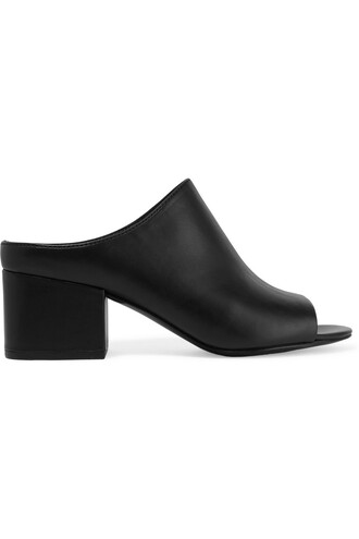 mules leather black shoes