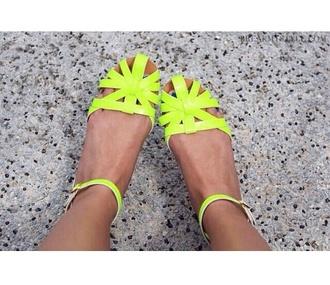 shoes neon yellow flats tumblr flat sandals