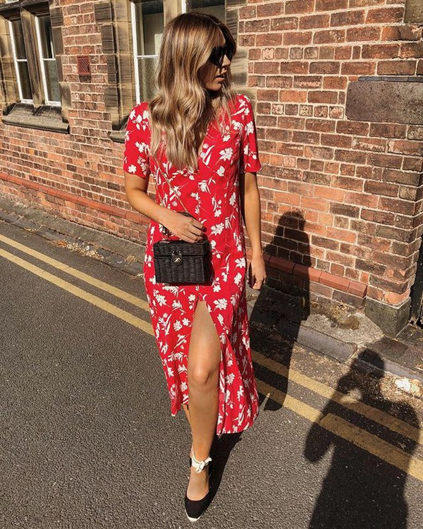 dress red dress midi dress floralf floral floral dress shoes bag