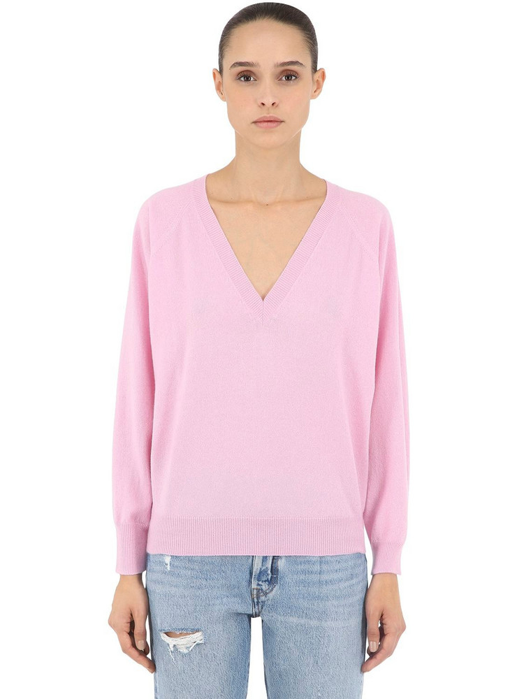 LUISA VIA ROMA V Neck Cashmere Knit Sweater in pink