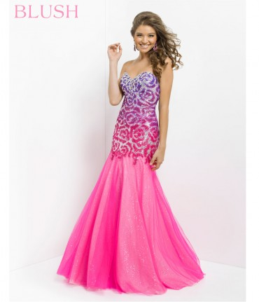 Shocking pink strapless sequin prom gown