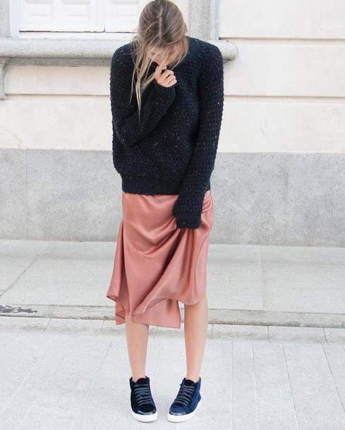 bc6f976e8c8f sweater, tumblr, blue sweater, dress, midi dress, pink dress, peach ...
