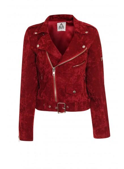UNIF Sangre Red Velvet Moto Jacket