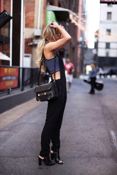 pants shirt jumpsuit black heels top overalls