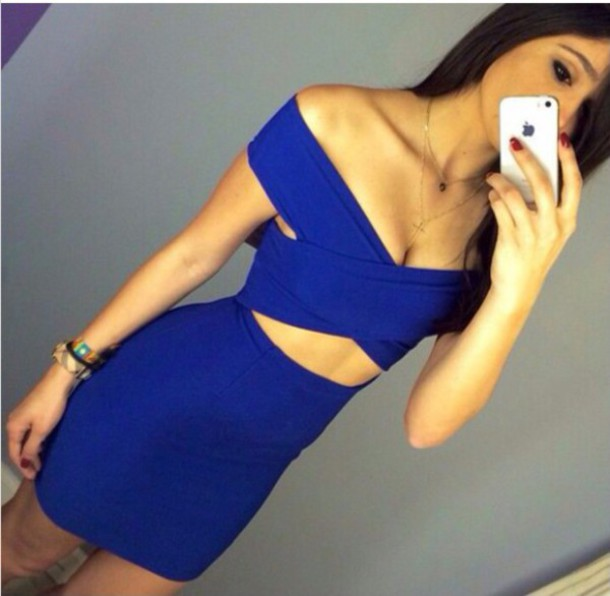 dress cute dress royal blue dress split sexy dress