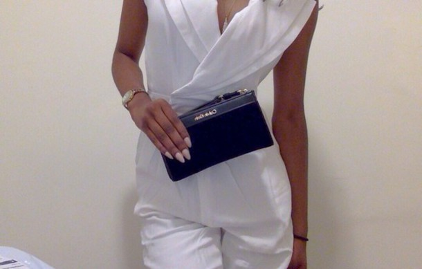 pants jumpsuit white jumpsuit ivory fashion fashionbunker bag nail polish fashion blog calvin klein cameo wrist wallet