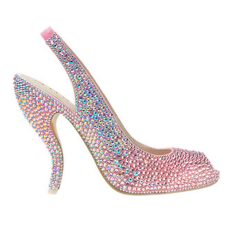 shoes rose pink heels rose pink pink crystal shoes crystal shoes swarovski wedding accessories wedding shoes pink shoes cinderella cinderella shoe princess shoes peep toe sling back heels