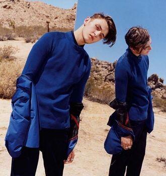 jacket anwar hadid model menswear blue instagram mens sweater
