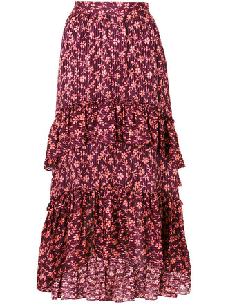 skirt pleated skirt pleated women floral cotton silk red
