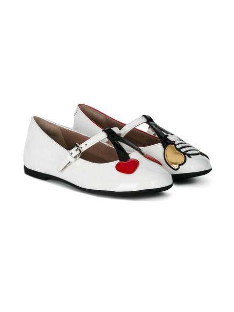 Gucci Kids heart bee leather white shoes