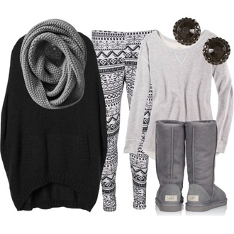sweater grey ugg boots earrings scarf grey scarf cute leggings pants black shirt winter sweater winter outfits grey sweater snow flakes grey knit shoes white cool tribal pattern boots