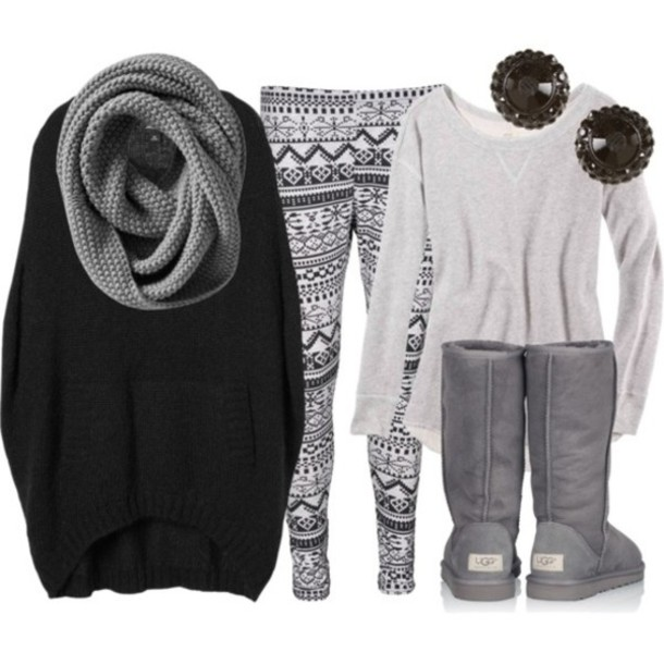 sweater, grey, ugg boots, earrings, leggings, scarf, grey scarf, cute, leggings, pants, ugg boots, black, earrings, shirt, winter sweater, winter outfits, ...
