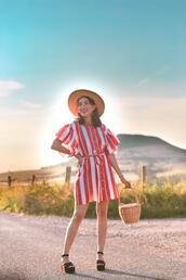preppy fashionist,blogger,hat,dress,bag,shoes