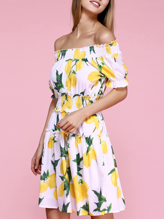 dress floral yellow summer off the shoulder spring trendy girly dressfo