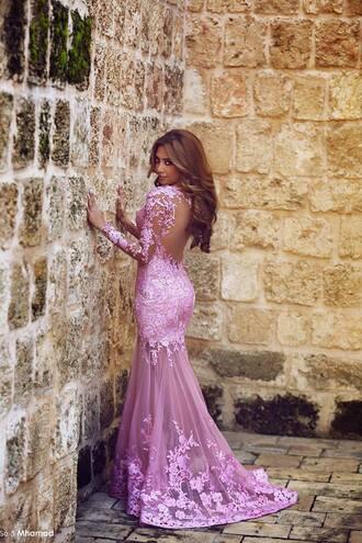 dress evening dress lace dress pink