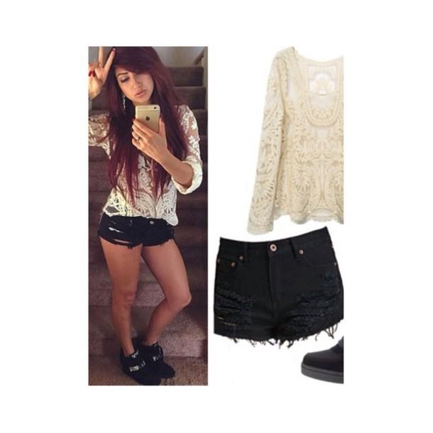 shorts black ripped short blouse