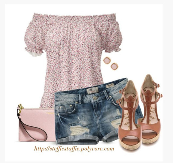 bag high heels purse clutch blouse top off the shoulder pattern clothes outfit cute top floral puff sleeves short sleeves summer top denim shorts wedges wedge heels t-strap wedges pink purse