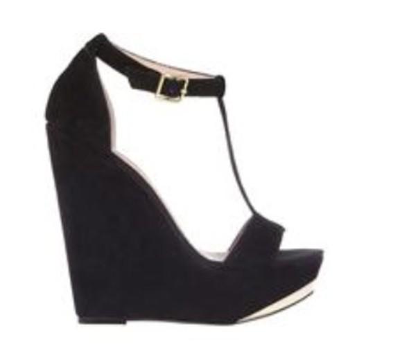 shoes wedges black gold