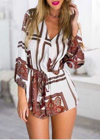 romper long sleeves white pattern summer fashion casual style outfit