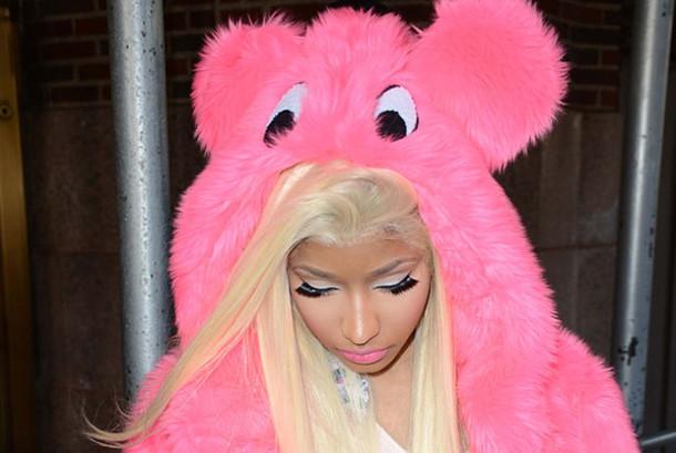 sweater pink fluffy hoodie pink hoodie bear hoodie monster nicki minaj pink fluffy hoodie