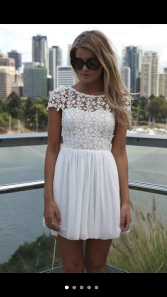 dress white dress lace dress white lace dress flowers cute white lace girl love skirt