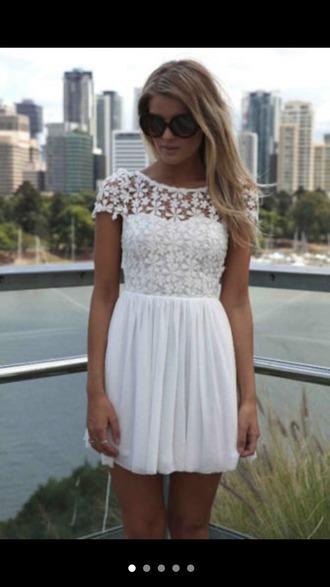 dress white dress lace dress white lace dress flowers cute white lace girls love skirt