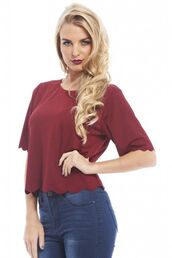 top,burgundy top,burgundy shirt,scalloped edging,scalloped hem,three-quarter sleeves,www.ustrendy.com