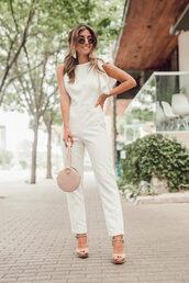 bag,onesie,jumpsuit,white jumpsuit,pink bag,shoes