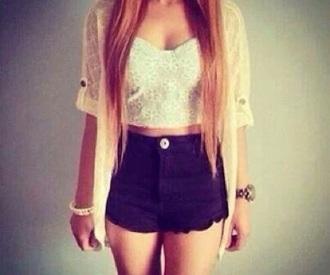 top white top black jeans cardigan long hair pants