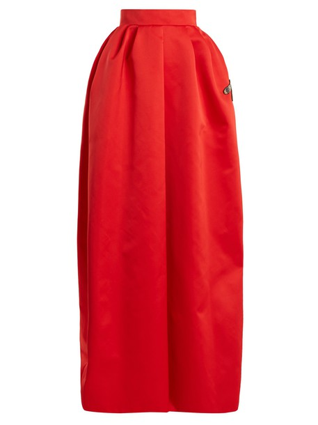 Rochas skirt maxi skirt maxi dragonfly satin red