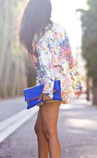 bag floral spring long sleeve romper summer bright colorful royal blue foldover clutch handbag