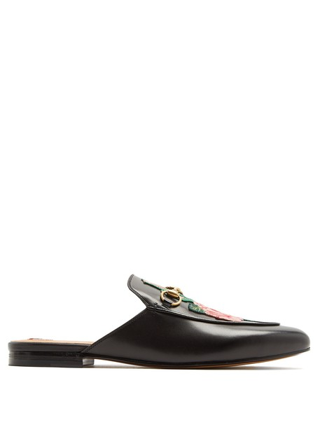 gucci embroidered backless loafers leather black shoes
