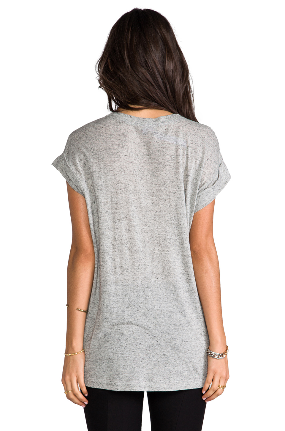 Wilt Roll Cuff Short Sleeve Tee in Grey Heather Solid from REVOLVEclothing.com