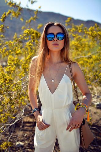 jumpsuit white jumpsuit romper white dress summer outfits sunglass summer necklace bag sunglasses dress